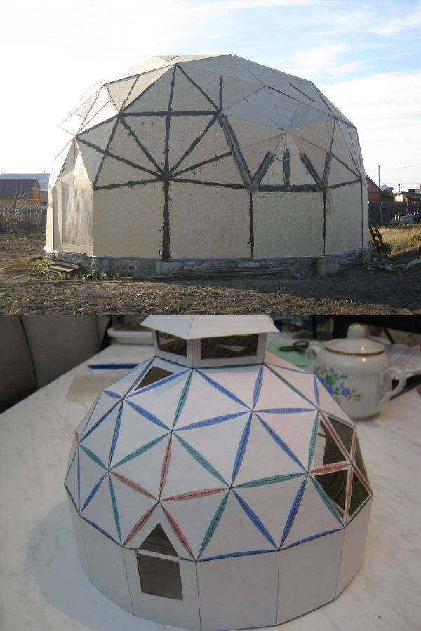 совмещение фотографии геокупола с моделью